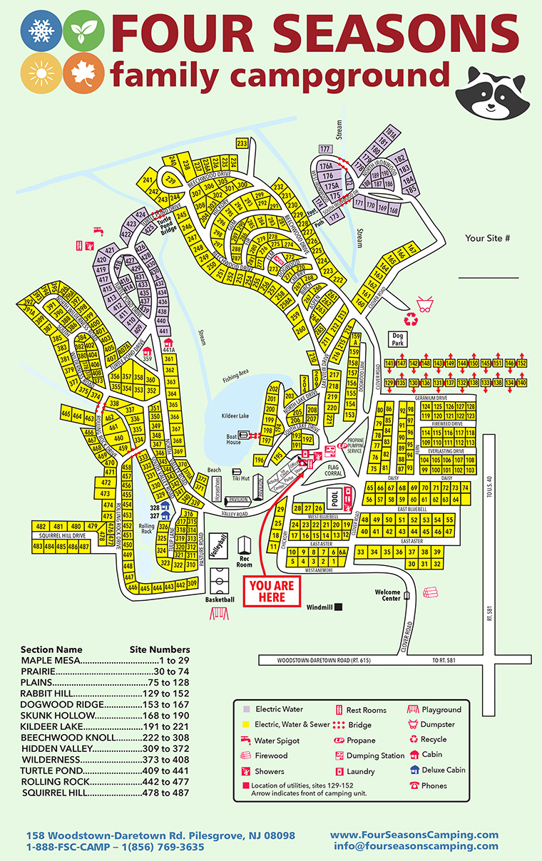 Four Seasons Family Campground Site Map